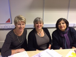 Photo of Judith, Susanne and Lajina at WiRE Blogging for Business Workshop